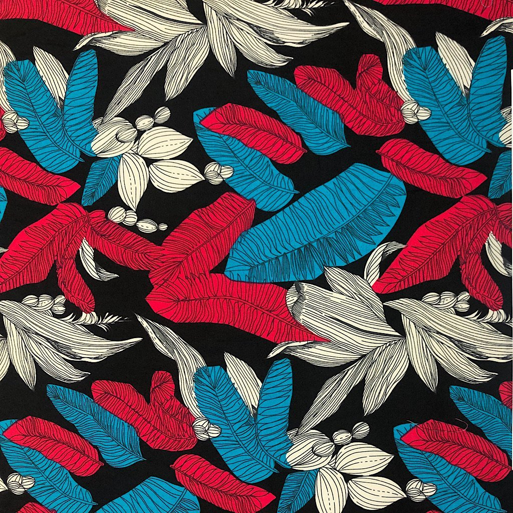 Pink and Blue Leaves Cotton Fabric