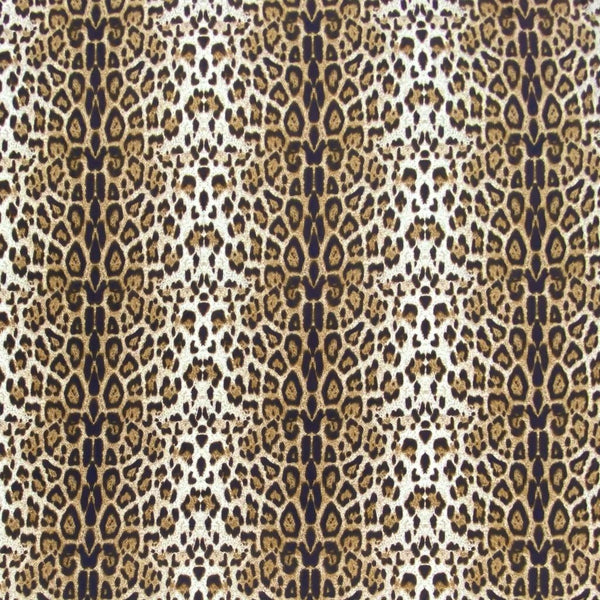 Beige/Brown Leopard Brushed ITY Jersey Fabric - 2 metres
