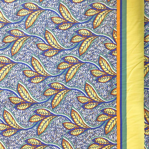 Yellow Leaf Design Cotton Fabric