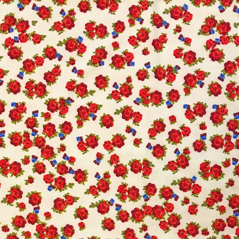 Cream Small Rose Brushed ITY Jersey Fabric - Pound Fabrics