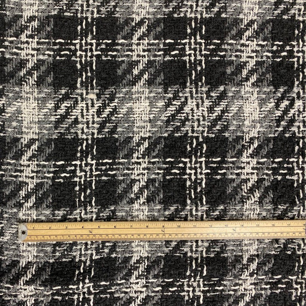 Black/White Large Check Woven Fabric