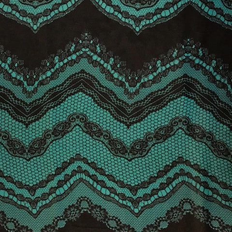 Turquoise and Black Zig Zag Pattern Chiffon Fabric - Pound Fabrics