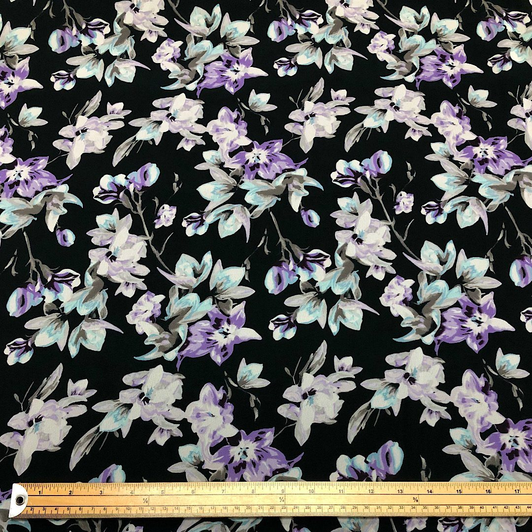 Purple Garden Flower on Black Chiffon Fabric