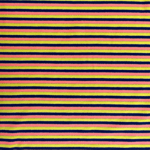 Lurex Yellow, Navy and Pink Stripe Cotton Jersey Fabric