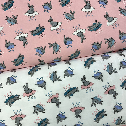 Bunnies on Clouds Cotton Jersey Fabric