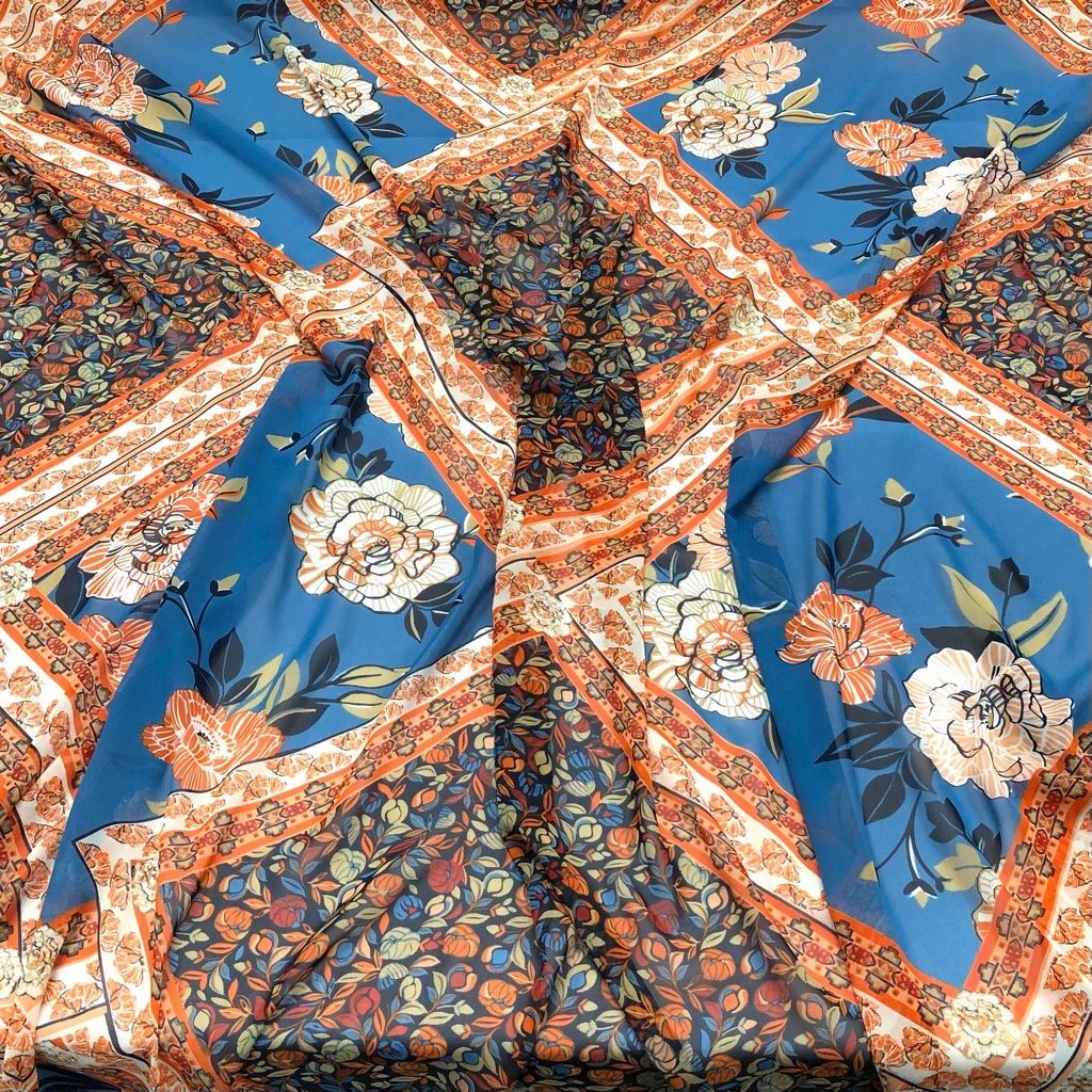 Blue and Orange Diamond Flower Chiffon Fabric