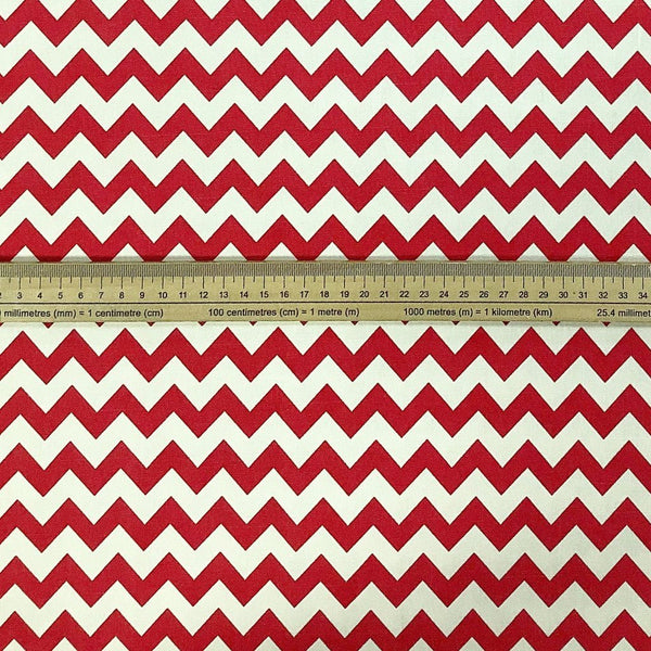 Red/Cream Zig Zag Cotton Canvas Fabric