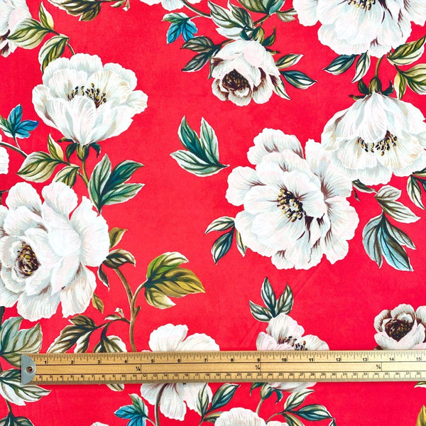 Red Floral Elastane Fabric