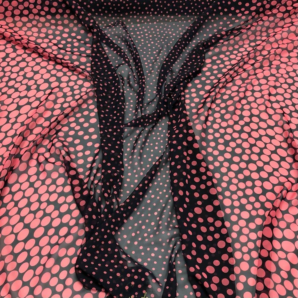 Pink Bubbles on Navy Chiffon Fabric