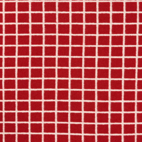 Red/White Grid Wool Blend Fabric