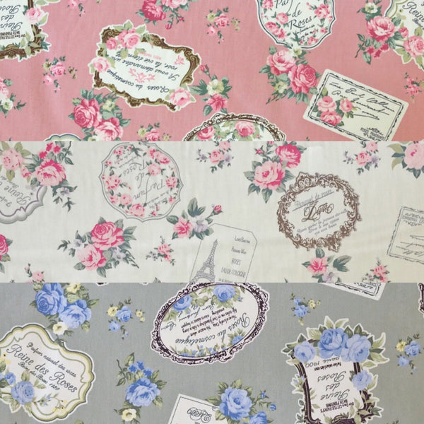 Vintage Rose Frames Cotton Poplin Fabric