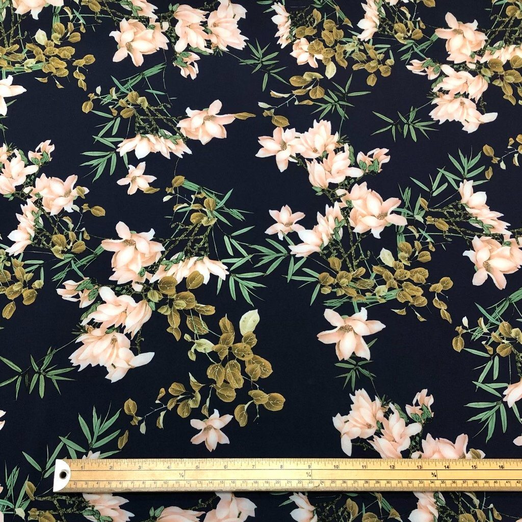 Large Peach Flowers on Navy Polyester Fabric
