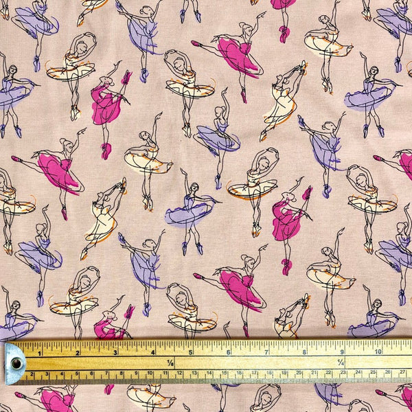 Dancing Ballerinas Cotton Jersey Fabric