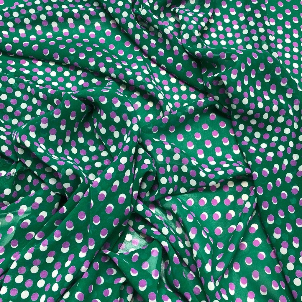 Purple Pink Spots On Green Chiffon - 3 metres for £3