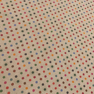 Beige Colourful Polka Dot Cotton Canvas Fabric