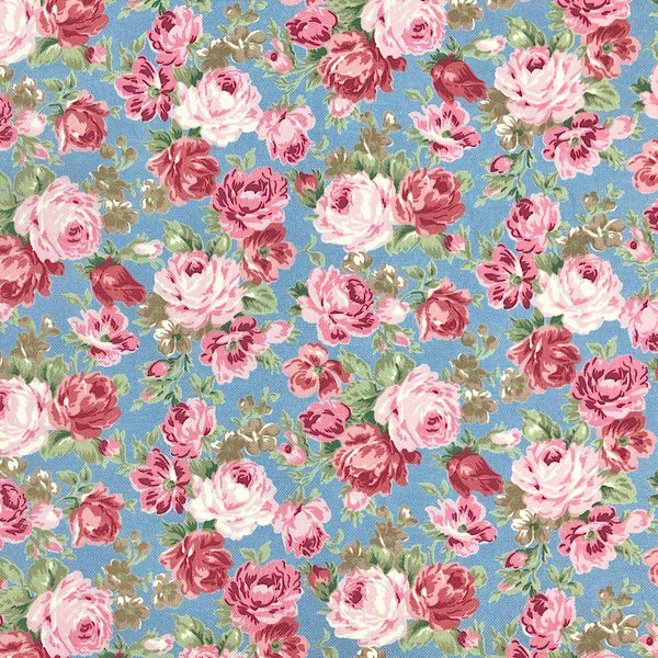 Pink Rose Cotton Canvas Fabric