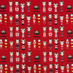 Red Dolls Cotton Canvas Fabric