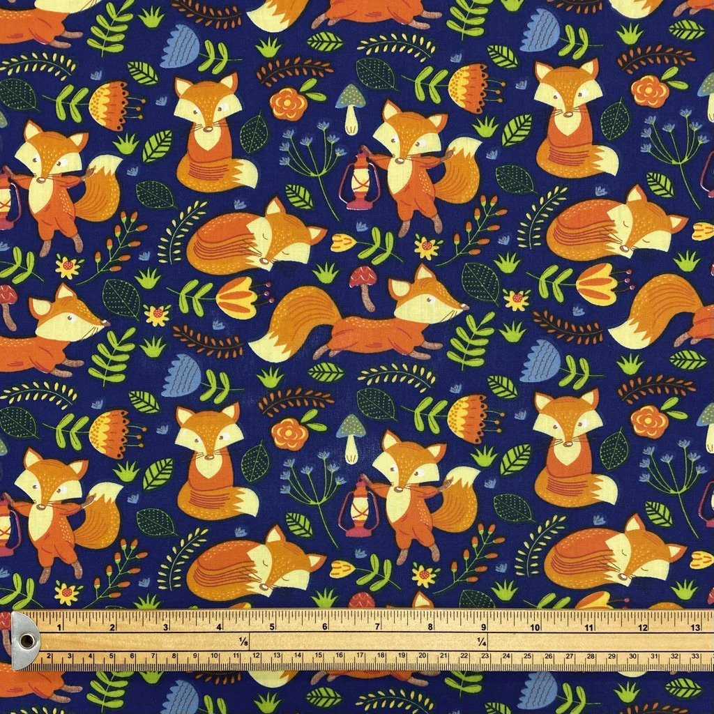 Foxes on Navy Polycotton Fabric