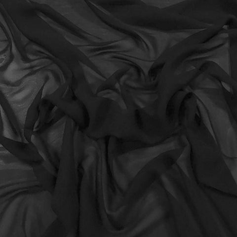Plain Black Chiffon Fabric - Pound Fabrics