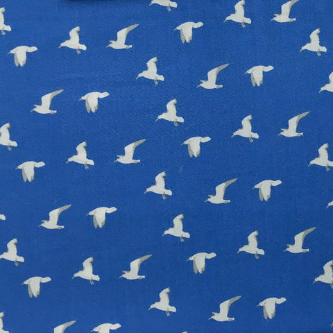 Blue Birds Viscose Fabric