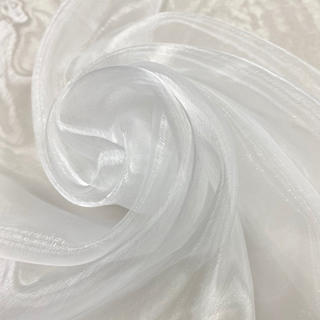 White Polyester Organdy Fabric