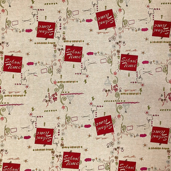 School Time Art Cotton Canvas Fabric