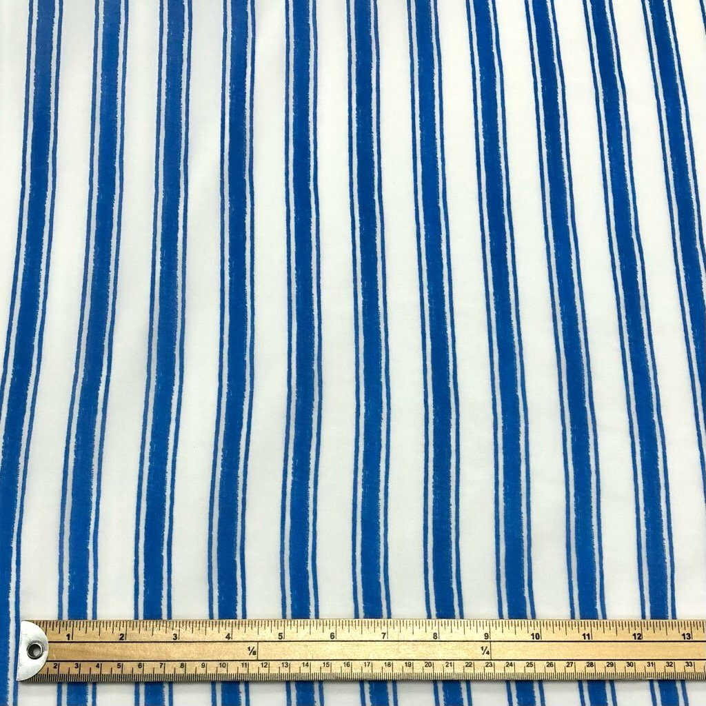 Blue and White Striped Chiffon Fabric