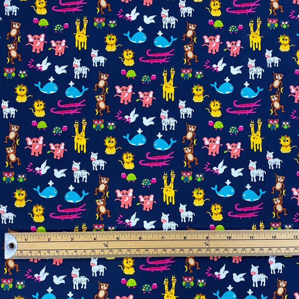 Mini Animals Cotton Poplin Fabric
