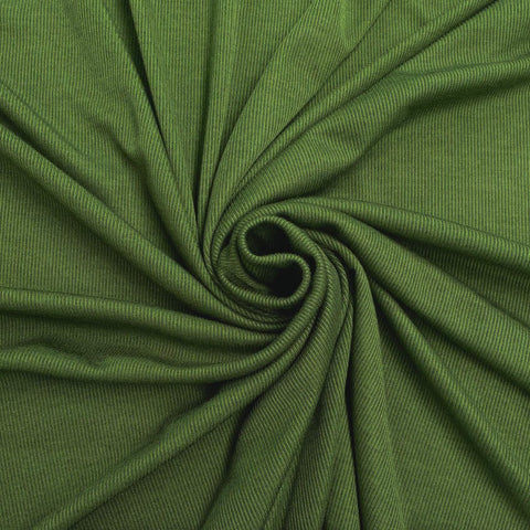 Green Viscose Rib Knit Fabric