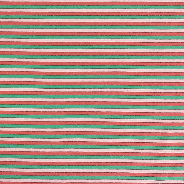 Lurex Pink and Mint Stripe Cotton Jersey Fabric