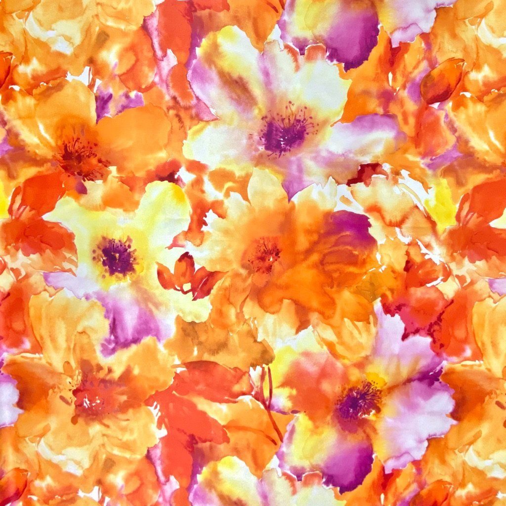 Orange Floral Polyester Sateen Fabric