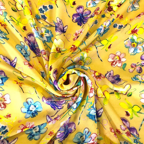 Yellow Floral Chiffon Fabric