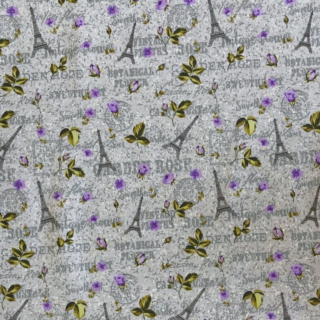 Eiffel Tower Cotton Poplin Fabric