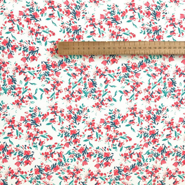 Red Small Floral Chiffon/Georgette Fabric - Pound Fabrics