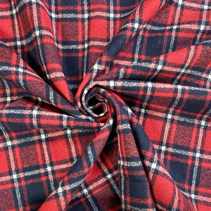 Light Red and Navy Tartan Wool Touch Fabric