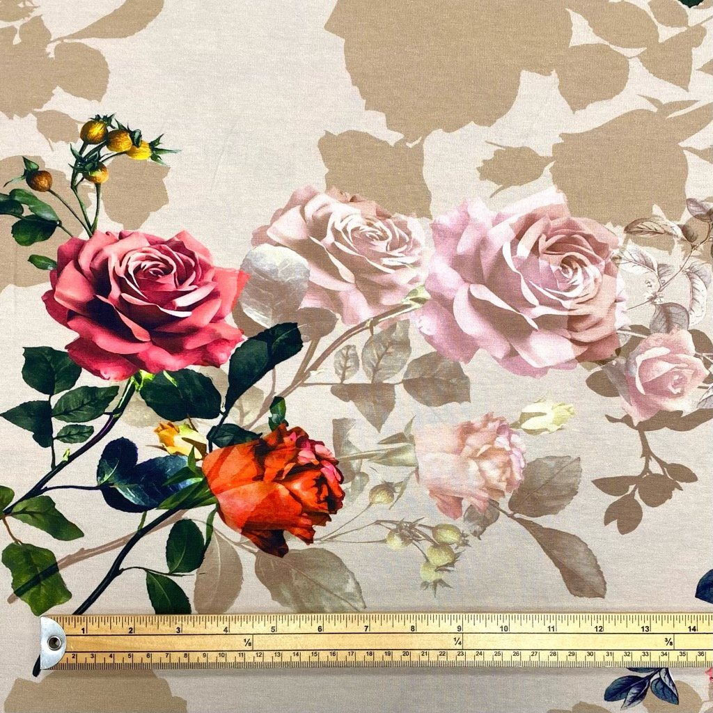 Roses on Beige Cotton Jersey Fabric