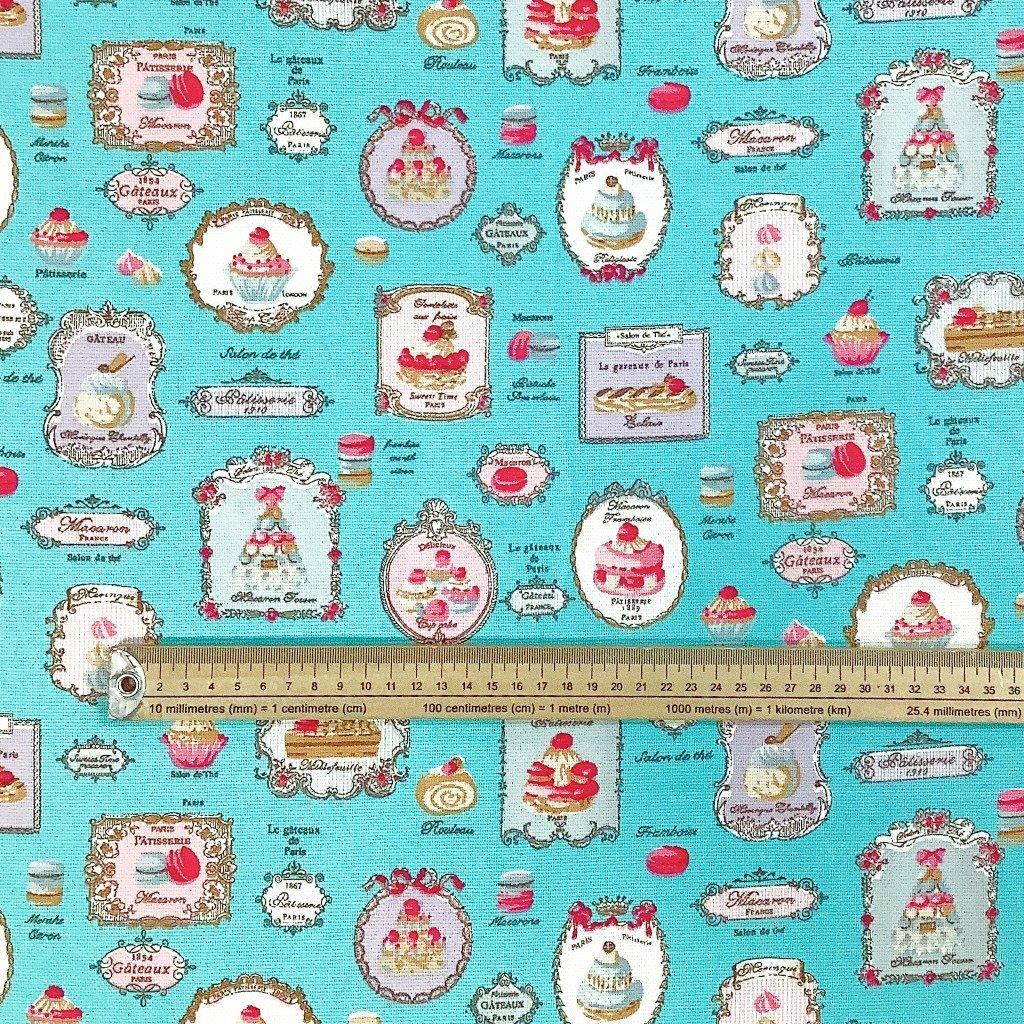 Paris Cakes Cotton Canvas Fabric