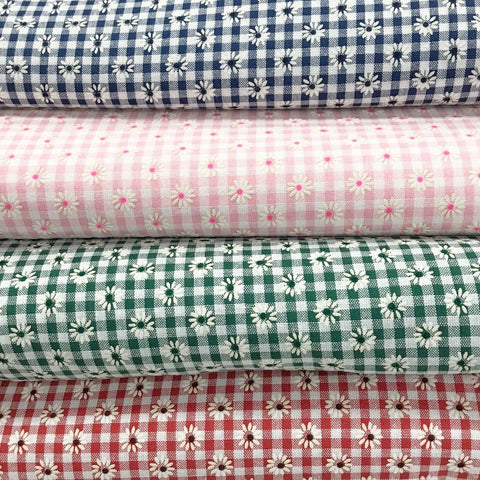 Daisy Checkered Polycotton Fabric