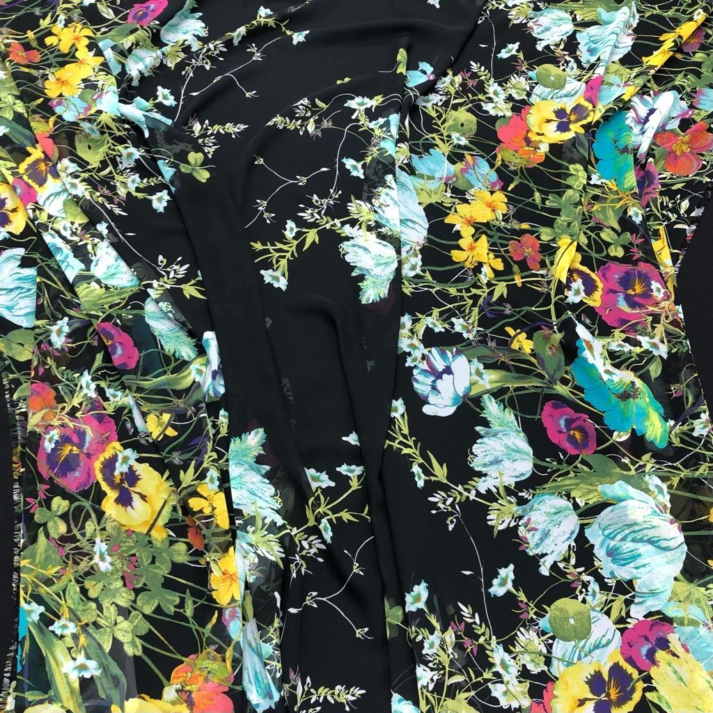 Flower Jungle on Black Double Border Chiffon Fabric