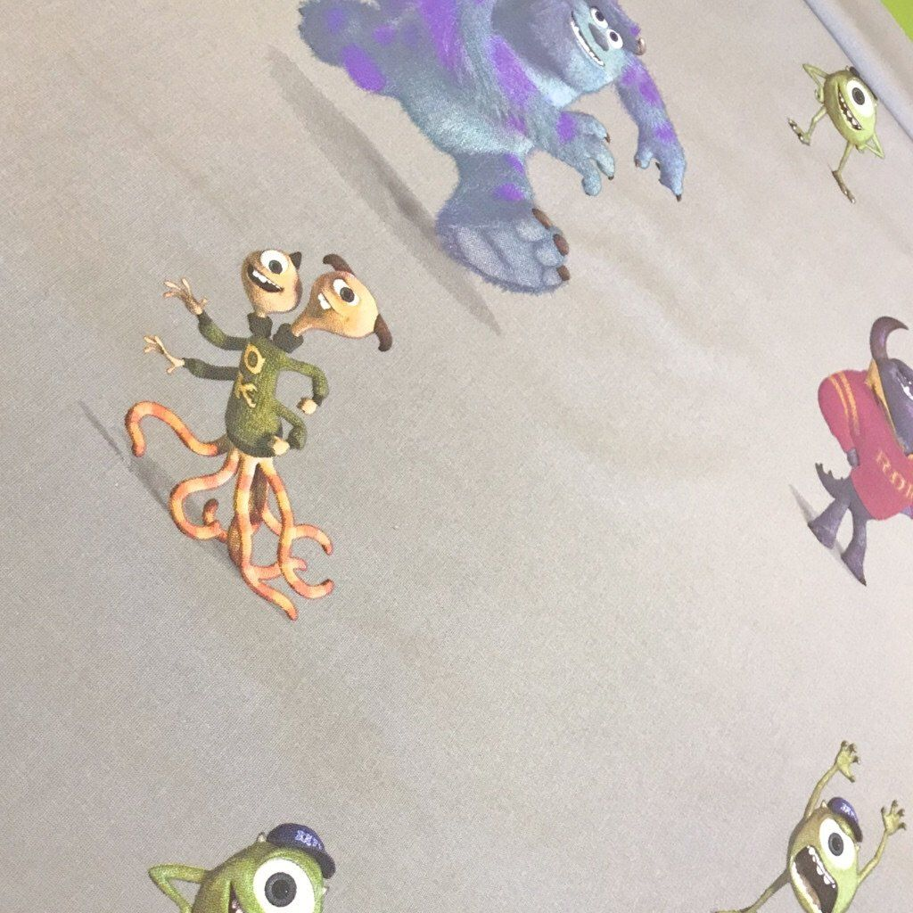 Grey Monsters Inc Cotton Fabric
