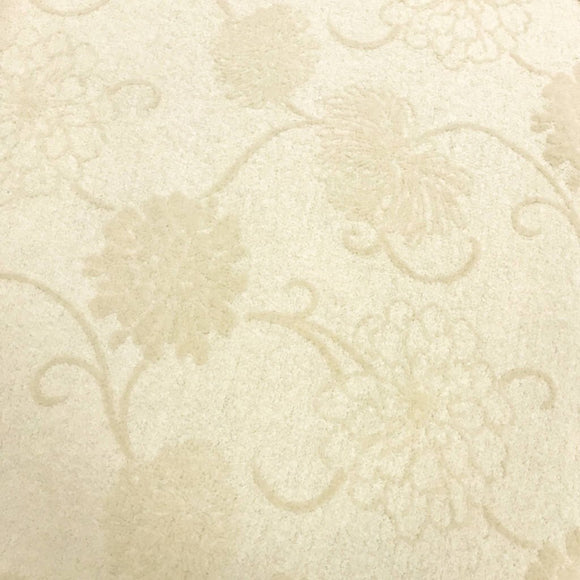 Cream Floral Embroided Boiled Wool Fabric