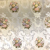 Embossed Silver and Multi Floral Fabric - Pound Fabrics