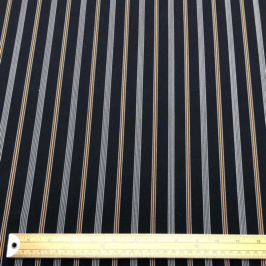Navy and Chestnut Striped Polyester Fabric - 3 metres for £5