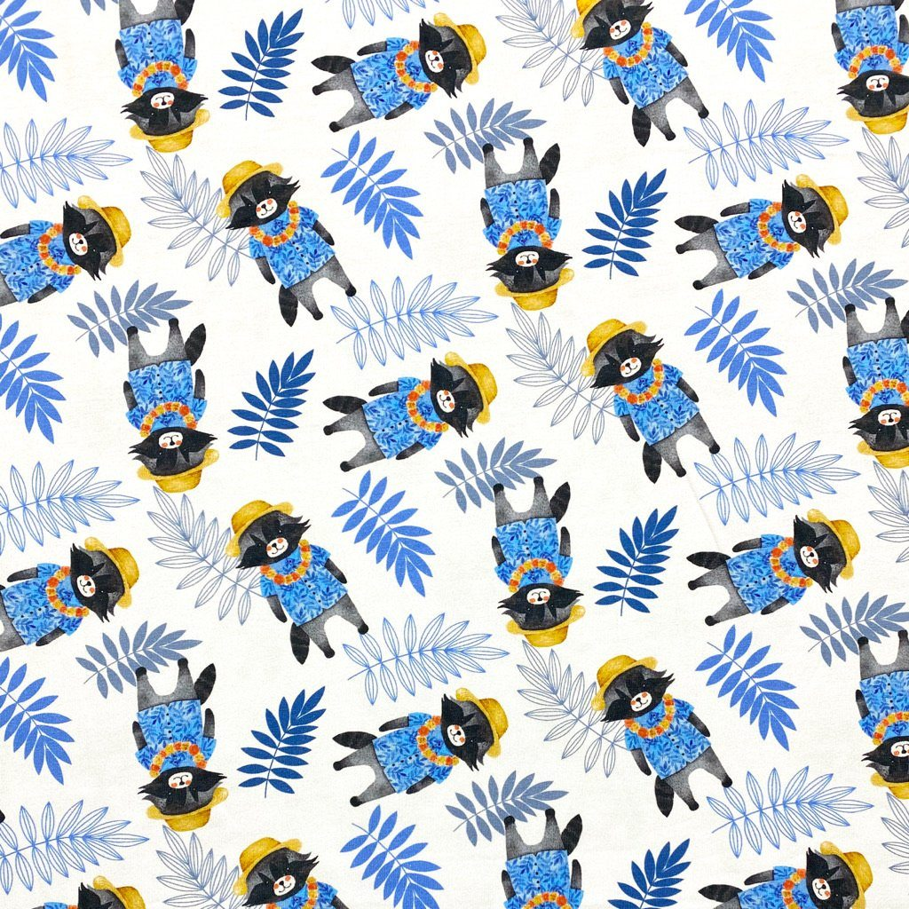 Raccoons In Hats Cotton Jersey Fabric
