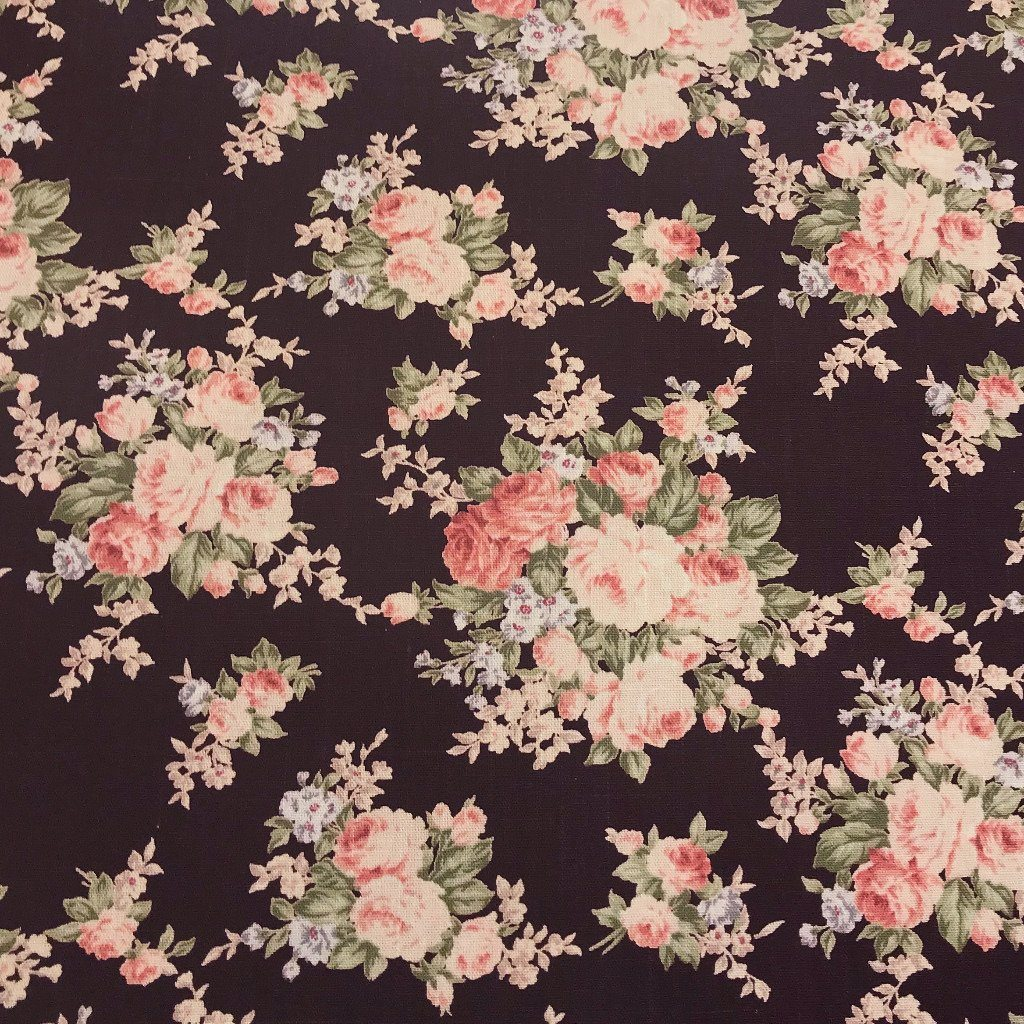 Brown/Pink Roses Cotton Canvas Fabric
