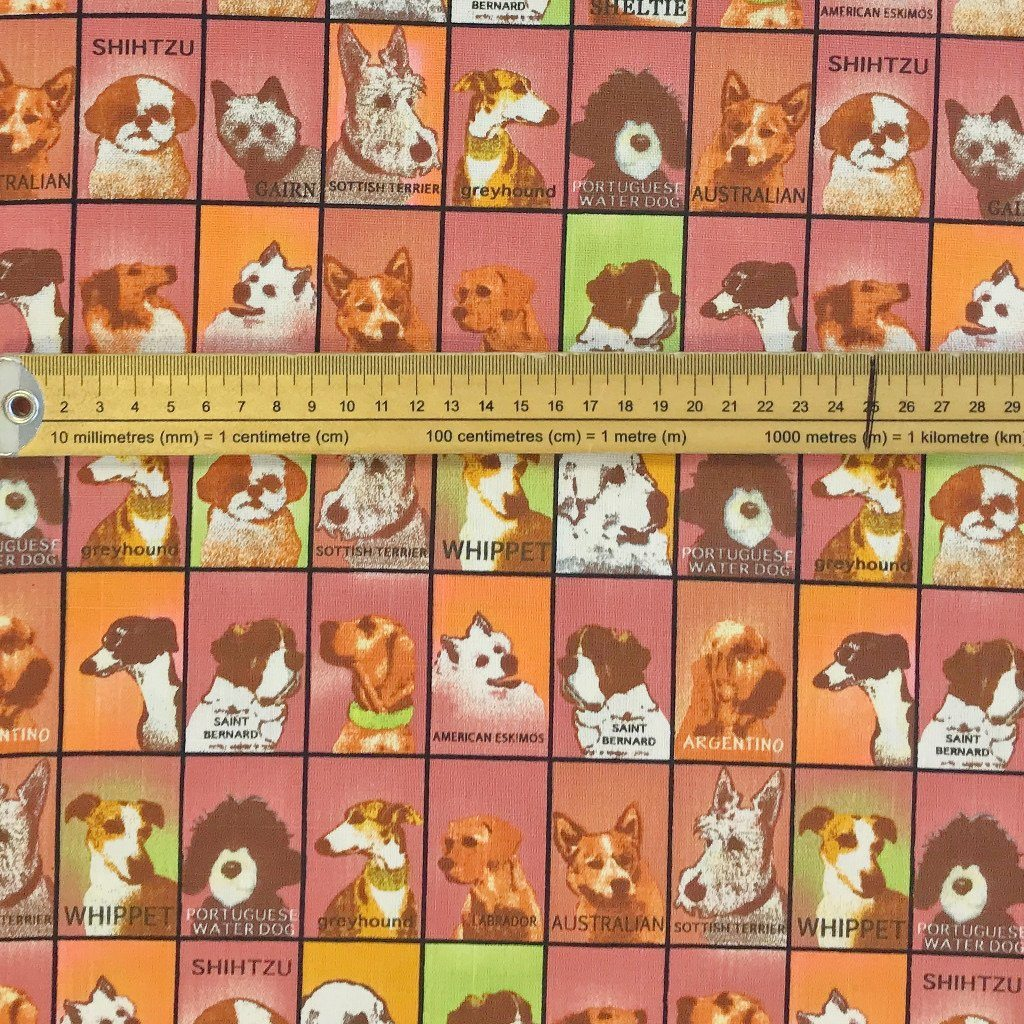 Multi Dogs Cotton Canvas Fabric