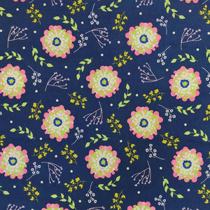 Navy/Pink Dahlia Flower Cotton Fabric