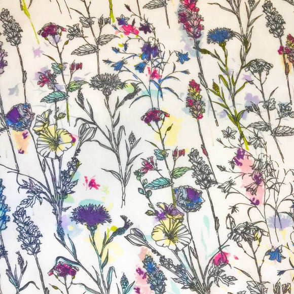 Watercolour Plants Georgette Fabric