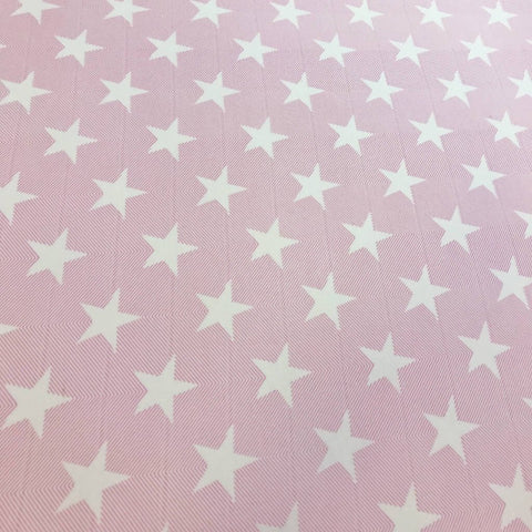 Pink Stars Fleece Backed Jersey Fabric - Pound Fabrics
