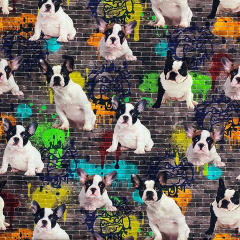 Dog Graffiti Cotton Jersey Fabric